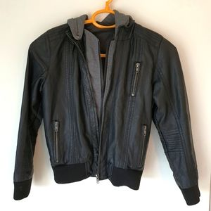 Just Jean's Boy's Faux  Leather Hooded Jacket